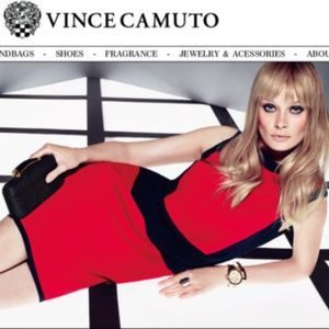VINCE CAMUTO RED/BLACK COLOR-BLOCK Sheath Dress XS
